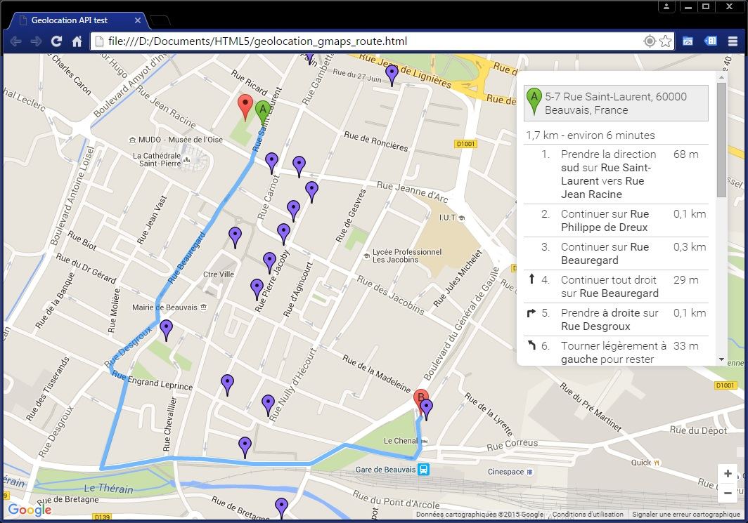 API Google Maps - Itinéraire