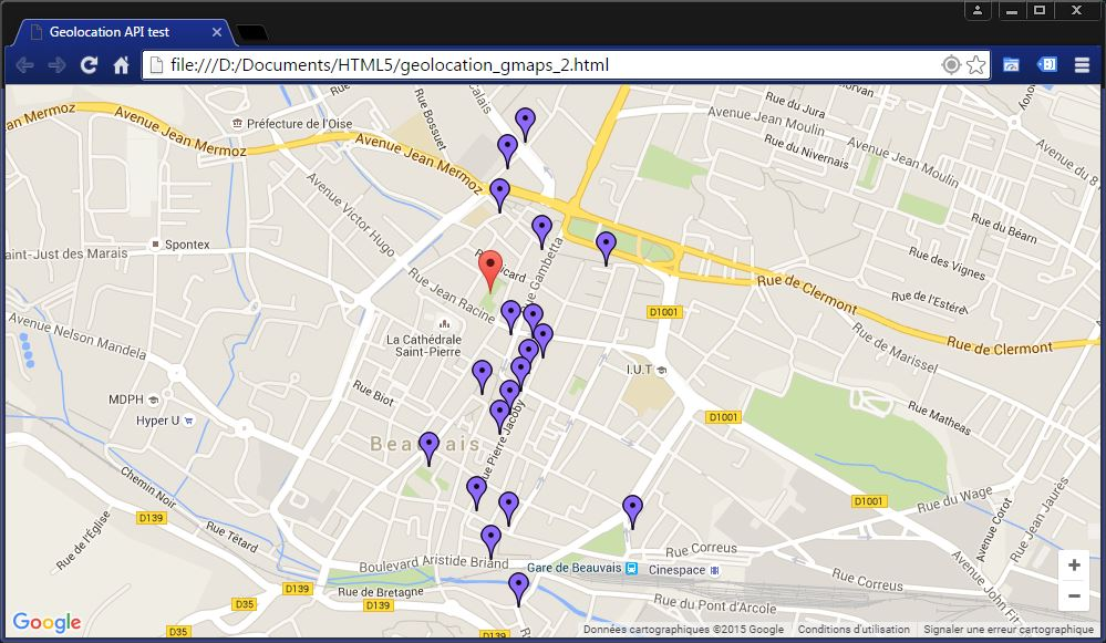 API Géolocation - Exemple Google Maps